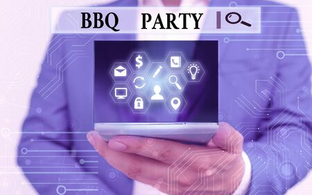 Text sign showing Bbq Party. Business photo text usually done outdoors by smoking meat over wood or charcoal