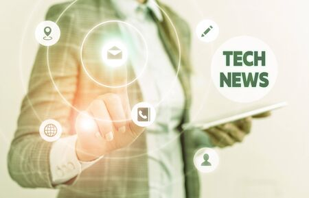 Word writing text Tech News. Business photo showcasing newly received or noteworthy information about technology
