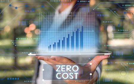 Word writing text Zero Cost. Business photo showcasing business decision that does not entail any expense to execute