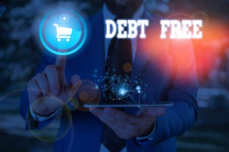 Conceptual hand writing showing Debt Free. Concept meaning free from owning any money to any individual or a company