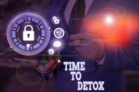 Writing note showing Time To Detox. Business concept for Moment for Diet Nutrition health Addiction treatment cleanse