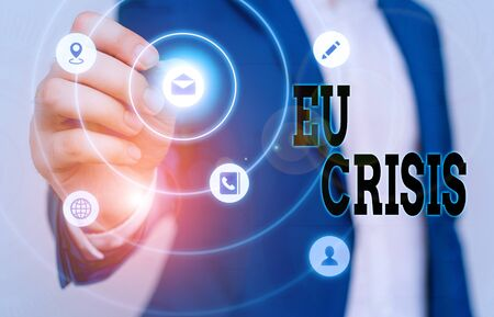 Text sign showing Eu Crisis. Business photo text eurozone state unable to repay or refinance their government debt Фото со стока