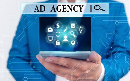 Text sign showing Ad Agency. Business photo text business dedicated to creating planning and handling advertising