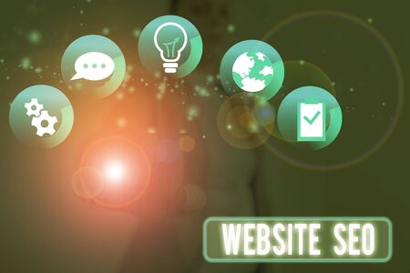 Conceptual hand writing showing Website Seo. Concept meaning tactics used to increase the amount of visitors to a website Stock Photo