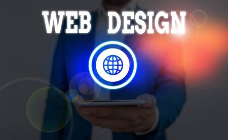Text sign showing Web Design. Business photo showcasing Website development Designing and process of creating websites