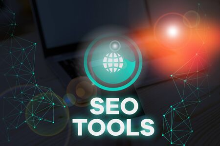 Writing note showing Seo Tools. Business concept for process of affecting online visibility of website or page Stock Photo