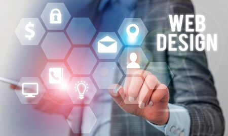 Writing note showing Web Design. Business concept for Website development Designing and process of creating websites