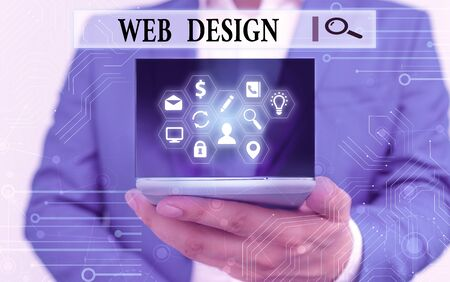 Text sign showing Web Design. Business photo text Website development Designing and process of creating websites Stock Photo