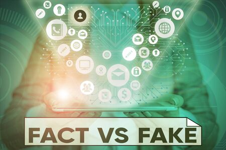 Text sign showing Fact Vs Fake. Business photo text Rivalry or products or information originaly made or imitation