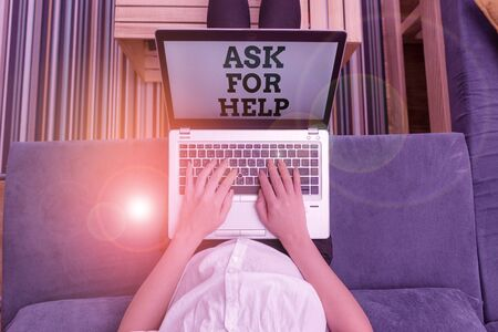 Writing note showing Ask For Help. Business concept for Request to support assistance needed Professional advice woman laptop computer office supplies technological devices inside home