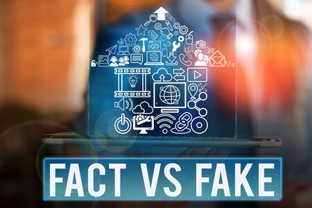 Word writing text Fact Vs Fake. Business photo showcasing Rivalry or products or information originaly made or imitation Stock Photo