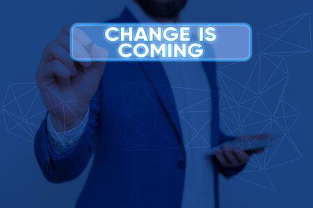Signe texte montrant le changement est à venir. Texte de photo d'entreprise disant à quelqu'un que l'avenir sera différent Banque d'images