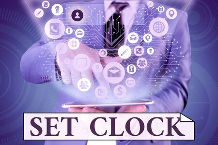 Handwriting text writing Set Clock. Conceptual photo put it to the right time or change the clock time to a later time