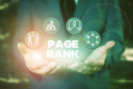 Text sign showing Page Rank. Business photo showcasing a value assigned to a web page as a measure of its popularity Stock Photo