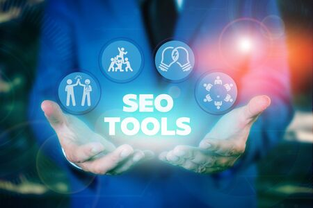 Text sign showing Seo Tools. Business photo showcasing process of affecting online visibility of website or page
