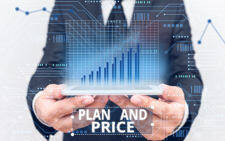 Text sign showing Plan And Price. Business photo showcasing setting decent price for product to sale according market