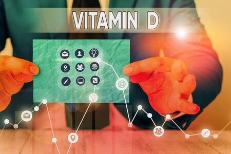 Text sign showing Vitamin D. Business photo showcasing Nutrient responsible for increasing intestinal absorption
