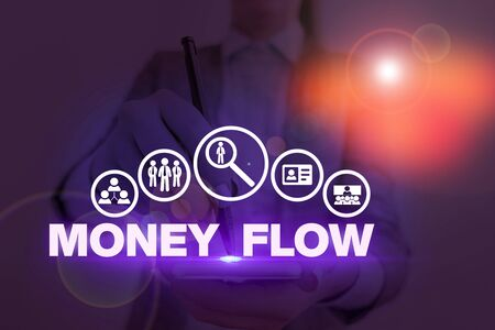 Handwriting text Money Flow. Conceptual photo the increase or decrease in the amount of money a business 版權商用圖片
