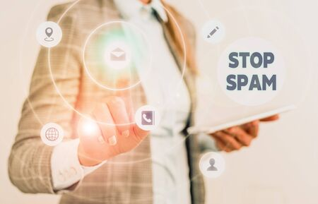 Word writing text Stop Spam. Business photo showcasing end the Intrusive or Inappropriate messages sent on the Internet Stock fotó