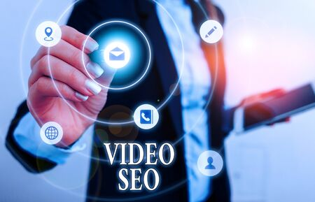 Text sign showing Video Seo. Business photo showcasing the process of improving the ranking or visibility of a video