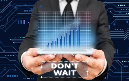 Writing note showing Don T Wait. Business concept for Take action now and do something for a purpose Act quickly Stock Photo - 134518026