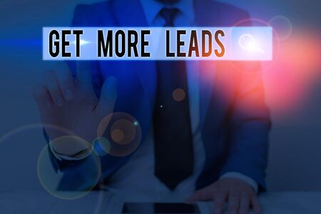 Text sign showing Get More Leads. Business photo text Look for new clients customers followers Marketing strategy