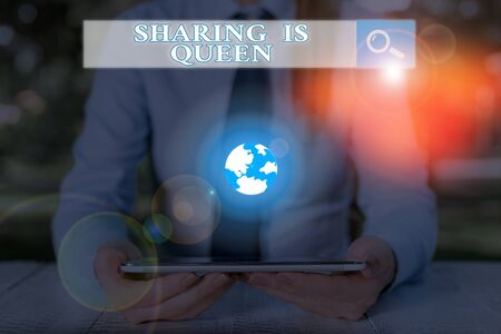 Handwriting text Sharing Is Queen. Conceptual photo giving others information or belongs is great quality Stock Photo