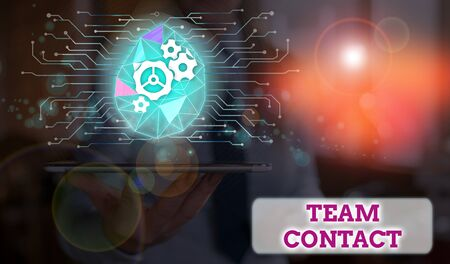 Text sign showing Team Contact. Business photo showcasing The interaction of the individuals on a team or group