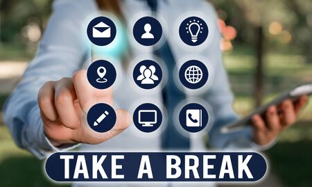 Text sign showing Take A Break. Business photo showcasing Resting Stop doing something recreation time get out of work 版權商用圖片
