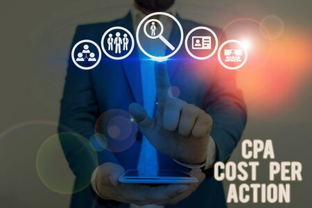 Word writing text Cpa Cost Per Action. Business photo showcasing Commission paid when user Clicks on an Affiliate Link