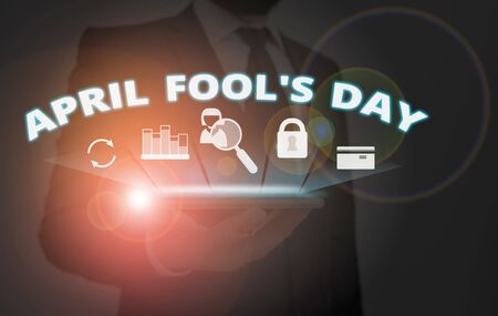 Writing note showing April Fool S Day. Business concept for Practical jokes humor pranks Celebration funny foolish Reklamní fotografie