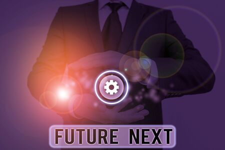 Text sign showing Futuro Next. Business photo showcasing Set of mental process Huanalysis mind workflow Unique icons