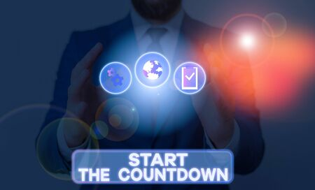 Word writing text Start The Countdown. Business photo showcasing Sequence of Backward Counting to Set the Timer