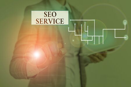 Text sign showing Seo Service. Business photo showcasing suite of techniques and procedures to surge website visibility