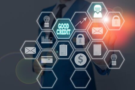 Handwriting text Good Credit. Conceptual photo borrower has a relatively high credit score and safe credit risk Фото со стока
