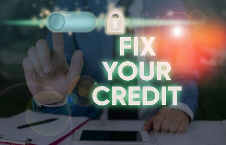 Writing note showing Fix Your Credit. Business concept for Keep balances low on credit cards and other credit Banque d'images - 134497165
