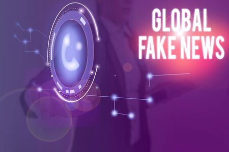 Word writing text Global Fake News. Business photo showcasing False information Journalism Lies Disinformation Hoax