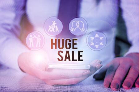 Word writing text Huge Sale. Business photo showcasing putting products on high discount Great price Black Friday