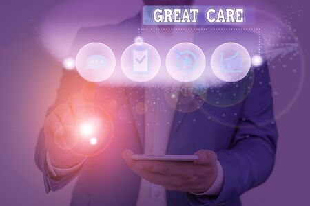 Text sign showing Great Care. Business photo text to treat someone with great or excessive care or kindness