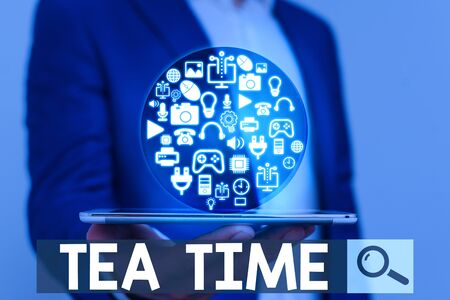 Word writing text Tea Time. Business photo showcasing the time in the afternoon when some showing eat a small meal 版權商用圖片