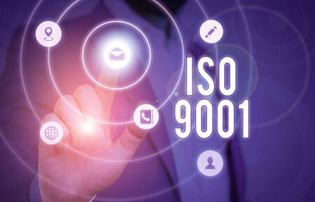 Conceptual hand writing showing Iso 9001. Concept meaning designed help organizations to ensure meet the needs of customers