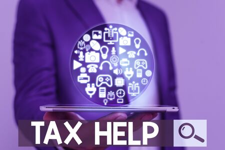 Word writing text Tax Help. Business photo showcasing Assistance from the compulsory contribution to the state revenue Фото со стока