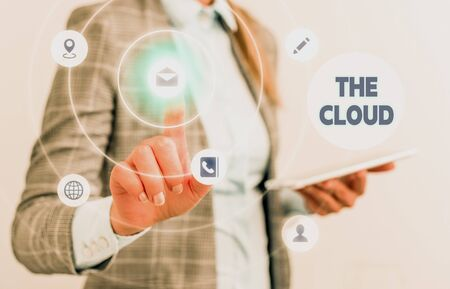 Word writing text The Cloud. Business photo showcasing Programs used in Storing Accessing data over the internet