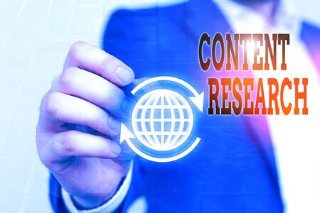 Writing note showing Content Research. Business concept for method for studying documents and communication artifacts Standard-Bild