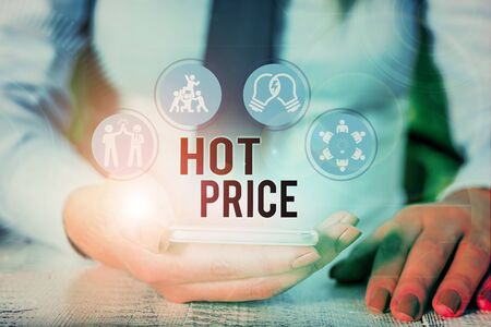 Word writing text Hot Price. Business photo showcasing Buyer or seller can obtain something for a product sold or buy Stok Fotoğraf