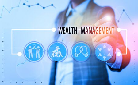 Conceptual hand writing showing Wealth Management. Concept meaning perforanalysisce tracking of the funds as per regular market