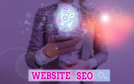 Text sign showing Website Seo. Business photo text tactics used to increase the amount of visitors to a website