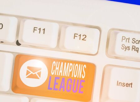 Writing note showing Champions League. Business concept for Yearly football competition from each country in Europe