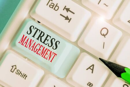 Writing note showing Stress Management. Business concept for learning ways of behaving and thinking that reduce stress
