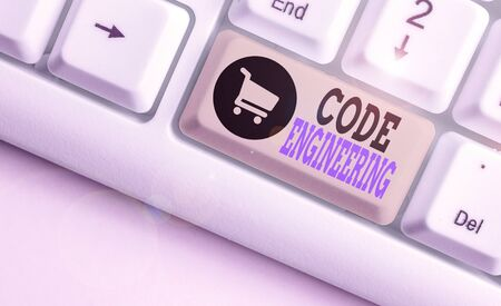 Text sign showing Code Engineering. Business photo showcasing application of engineering to the development of software